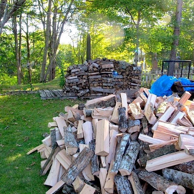 close on wood pile