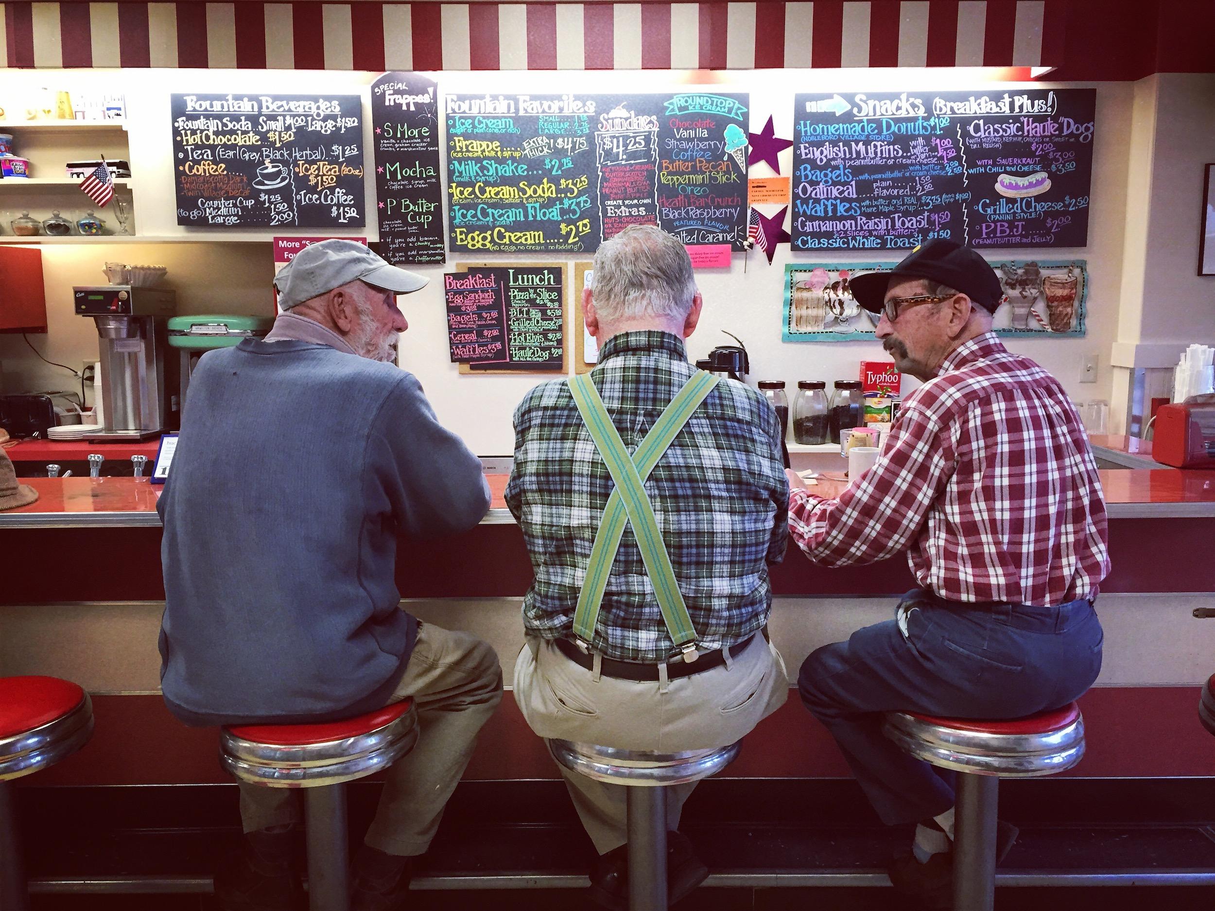 Maine. Hanging at Reny's counter. Damariscotta, Maine